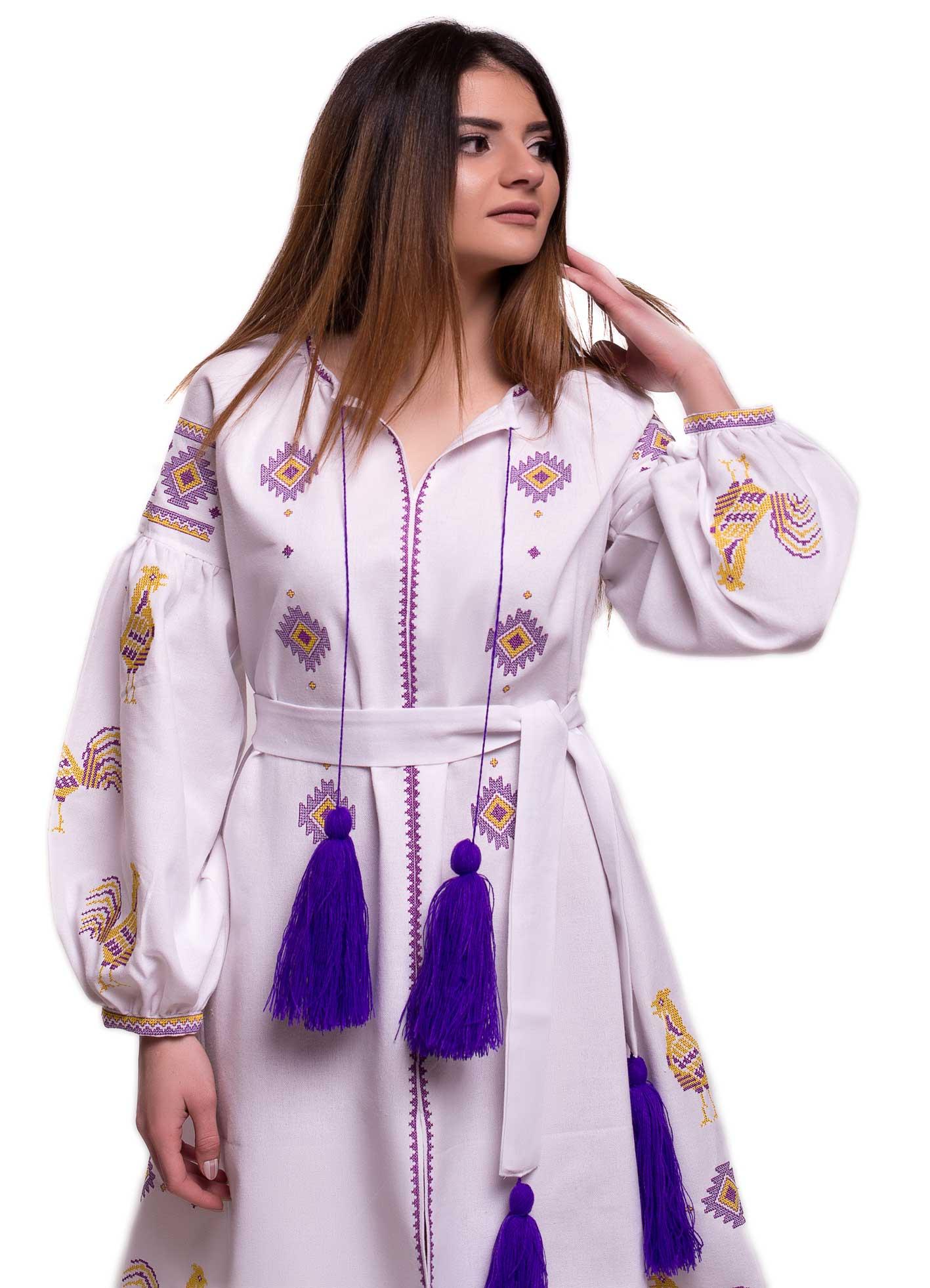 1c69b7769e4051 Сукня вишиванка «Півні» - ЕТНОLOOK